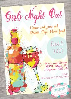 Girls Night Invitation Rhymes Beautiful Girls Night Out Wine Canvas Paint Invitation Printable Girls Night Out Wine, Wine And Paint Night, Ladies Night, Slumber Party Invitations, Invites, Invitation Wording, Invitation Templates, Wine Painting, Body Painting