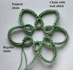 "Tat-a-Renda: Pointed Chain different ways to create ""pointed"" chain petals. Tat-a-Renda: Pointed Chain different ways to create pointed chain petals. Tatting Earrings, Tatting Jewelry, Tatting Lace, Crochet Patron, Irish Crochet, Knit Crochet, Crochet Motifs, Crochet Stitches, Crochet Patterns"