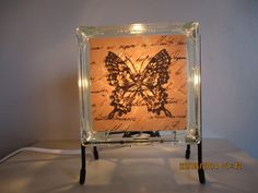 Butterfly glass block lamp shabby chic peach with di Glowblocks
