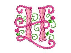 Cute Letter H Alphabet for Lil Princess Hearts  by EmbroideryLand
