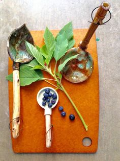 This beautiful layout was designed by Altadena artist Linda Illuminardi. Her spoons are handmade with handles she has harvested and prepped and no two spoons are alike!
