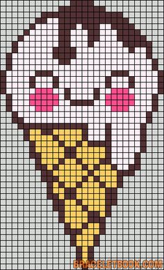 Free Ice Cream Cone Hama Perler Bead Pattern or Cross Stitch Chart