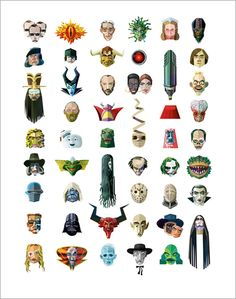 A great, fun poster from designer and illustrator Robert Ball that showcases fifty famous film villains.