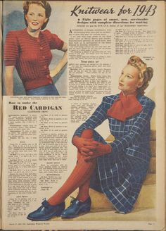 The Australian Women's Weekly: March 27, 1943 -knitwear for 1943