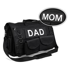 """ThinkGeek's Tactical Diaper Bag.   front and strap, 6 plastic D-rings, a strap on 360° swiveling clips, and drainage holes in each corner of the main body. It also has the hook end of a 9"""" x 3"""" patch system, so if your family needs two of these, you can easily label one """"MOM"""" and one """"DAD,"""" both of which ship with the product."""