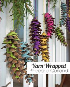 Yarn Wrapped Pinecone Garland | tealandlime.com
