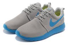 new style 22b56 75bf6 Nike Roshe Run Pas Cher Homme Gris Bleu clair Mesh