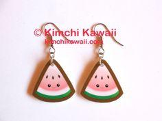 Watermelon earrings - 100% waterproof acrylic by Kimchi Kawaii. For sale in my Art Fire shop. #watermelon #kimchikawaii #cute #kawaii $8.00