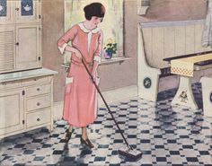 Not sure my grandma dressed this nicely to mop the floor.  1920s Kitchen Gallery - Kitchen flooring, cabinetry, nooks, and plumbing - Vintage Kitchen Design Inspiration
