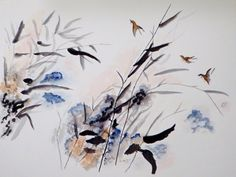 Asian Brush Painting,Impressionistic  Art,Modern, An Original Watercolor Painting. Birds in Weeds Size 18x24 Unframed.
