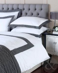 100% COTTON HERRINGBONE DUVET COVER 200 Thread Count Grey White Bedding Bed Set White & Charcoal Grey Double Quilt Cover: Amazon.co.uk: Kitchen & Home