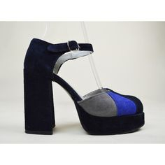 90s Grunge Dolly Blue Suede Navy Colourblock Ankle Strap Round Toe... ($53) ❤ liked on Polyvore featuring shoes, sandals, platform sandals, mary jane platform shoes, chunky heel sandals, navy blue sandals and suede platform sandals