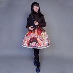 Customized Cute Vintage Clock Pattern Lolita Sleeveless Chiffon Dress 4 Colors