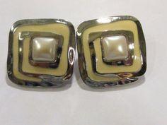 Avon Vintage Cream Enamel Pearl Silver Tone Post Square Earrings