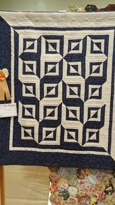 "quiltails: """"Brad's Quilt"" by Cora Postlethwait. Simple design, fabulously done. With only one block and two colors, you get a lot of impact! Photo taken at Space Coast Quilt Show, Titusville,..."