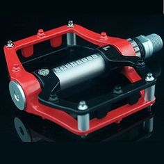 Cycling Aluminium Alloy Convenient Solid Pedals Red and Black with One Pair -- Read more reviews of the product by visiting the link on the image.