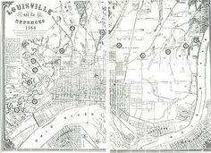 American Civil War fortifications in Louisville, Ky., 1864 map showing the eleven forts and other defenses.