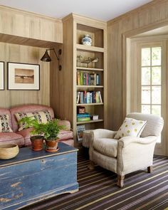 """McGrath II on Instagram: """"It's often the smallest rooms that end up being used the most, especially when they are as cozy as this one. Faux bois painted walls give…"""" Architecture Details, Interior Architecture, Edward Curtis, Fresh Farmhouse, Cozy Room, Striped Rug, Paint Furniture, Family Room, Sofa"""