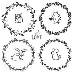 Hand Drawn Rustic Vintage Wreaths With Lettering And Cute Little ...
