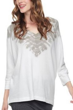 Cream and clay thermal with dolman sleeve top and3/4 length sleeves. The perfect weekend top to throw on with your sweats or jeans.   Thermal Kaleidoscope Dolman by Splendid. Clothing - Tops - Casual Wicker Park, Chicago, Illinois