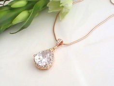 Bridal Jewelry Rose Gold Necklace Bridesmaid Gift by Crystalshadow