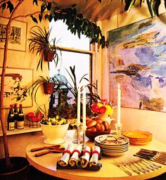 1960s Dining Room 1960s Decor, Kitchen Dining, Dining Room, Interior Architecture, Interior Design, 1960s Fashion, Tablescapes, Kitchens, Table Settings