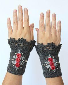 MADE TO ORDER in 4-6 Wochen, Knitted Fingerlose Handschuhe, Handschuhe & Fäustlinge, Geschenk-Ideen für ihr Winter-Zubehör, grau, Rosen,