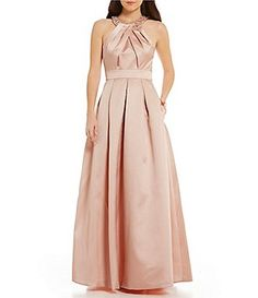 Eliza J Beaded Halter Sleeveless Beaded Satin Ball Gown