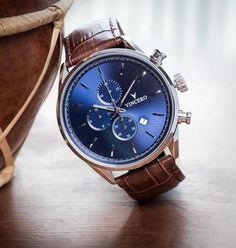 Men's Chronograph - Blue Watch with Brown Strap – Vincero Collective
