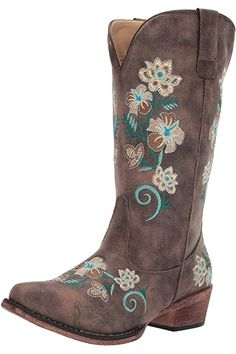 Amazon.com | Soto Boots Women's Jasmine Floral Square Toe Cowgirl Boots M50043 (Tan, 5.5 B(M) US) | Mid-Calf Girl Cowboy Boots, Cowgirl Style, Western Boots, Snow Boots Women, Pull On Boots, Floral Fashion, Cool Boots, Bearpaw Boots, Fashion Boots