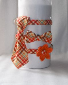 Dog Collar Flower/ Bow Tie/Neck Tie Set  by chiwawagearharnesses