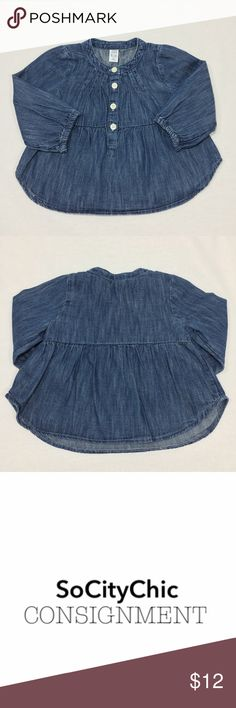 BABY GAP DENIM BLOUSE BABY GAP DENIM BLOUSE. LONG SLEEVES. CREW NECK. CENTER FRONT BUTTON CLOSURE. FABRIC: COTTON. CONDITION: GENTLY USED/ NO SIGNS OF WEAR. SIZE 6-12M. GAP Shirts & Tops Blouses
