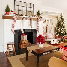 Modern and traditional decorating styles come together in this festive living room. More ideas: http://www.bhg.com/christmas/indoor-decorating/pretty-christmas-living-rooms/#page=8