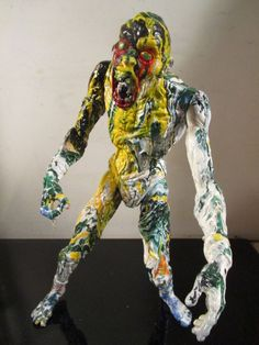 ABSTRACT custom hand painted zombie 12'' figure by artist musk yai #Unbranded
