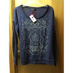 Rock and Republic Long Sleeve Top Rock and Republic Ling Sleeve Top. Poly blend. Navy blue with embellishments. Rock & Republic Tops Tees - Long Sleeve