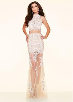 7964ea3cf8 Marvelous Two-piece Tulle High Collar Neckline See-through Mermaid Evening  Dresses With Lace