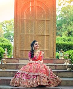 pink and orange lehenga, coral and orange lehenga, bridal lehenga with zardozi work Wedding Lehnga, Indian Bridal Lehenga, Indian Bridal Wear, Indian Wedding Outfits, Bridal Outfits, Bridal Dresses, Indian Wear, Indian Weddings, Indian Attire