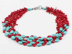 Assorted Branch Shape Red Coral and Oval Shape Turquoise Necklace