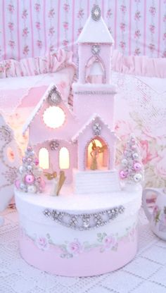 Shabby Christmas Putz Church/Pink Roses Jeweled Box
