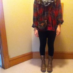 Men's flannel plaid shirt,leggings,and a scarf...topped off with brown combat boots:)