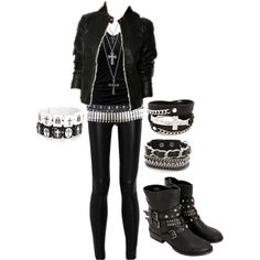 I don't really like the cross bracelet on the left or the necklaces and belts, but I love everything else! Roupas Punk Rock, Rock Style, Rock Chic, Emo Outfits, Gothic Outfits, School Outfits, Cute Outfits, Fandom Outfits, Emo Fashion