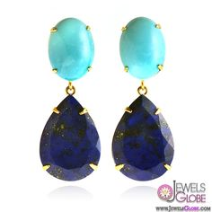 Turquoise and Lapis Drop Earrings