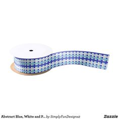 Abstract Blue, White and Pastel Blue Satin Ribbon
