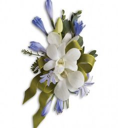 In the Clouds - White Orchid - Blue Delphinium Corsage | Wholesale Orchid Corsages | Buy Orchid Delphinium Corsages | Discount Orchid Corsages at BunchesDirect