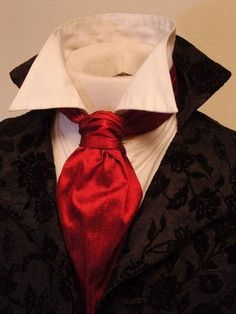 HnaS red ascot tie with lovely patterned black jacket FORMAL Victorian Ascot Tie Cravat - Deep Red Dupioni SILK