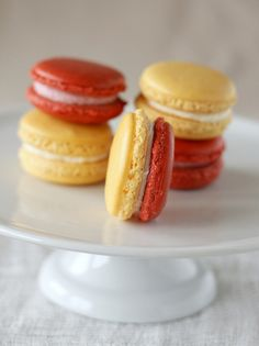 red & yellow macarons