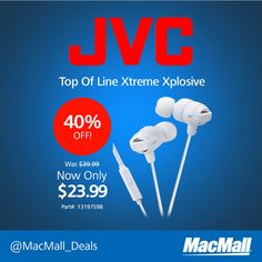 Save 40% on a JVC earbud headset at MacMall. #NewArrival