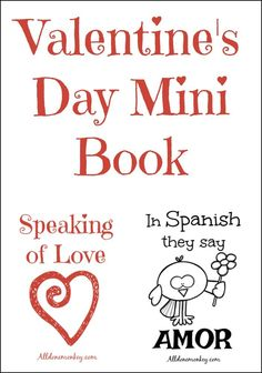 """Teach children about the world with this free Valentine's Day mini book about how to say """"love"""" in five different languages. Includes a matching page. Valentines Day Book, Valentines Day Activities, Valentine Day Crafts, Teaching Spanish, Teaching Kids, Kids Learning, Educational Activities For Kids, Book Activities, Learn Arabic Online"""