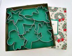 6 Metal Christmas Cookie Cutters  unused in by vintagejunque, $8.50
