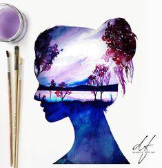 Фотография Cute Canvas Paintings, Watercolor Art Paintings, Painting & Drawing, Cool Art Drawings, Art Sketches, Pencil Drawings, Arte Sketchbook, Silhouette Painting, Galaxy Art
